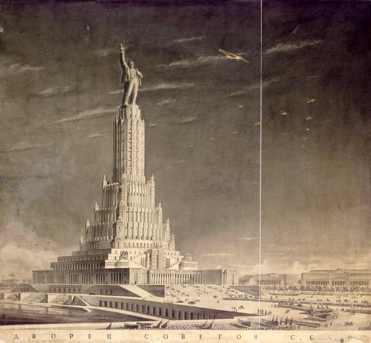 طرح پیشنهادی برای کاخ شوروی که توسط بوریس لوفان طراحی شد. این طرح توسط استالین مورد تایید قرار گرفته بود.