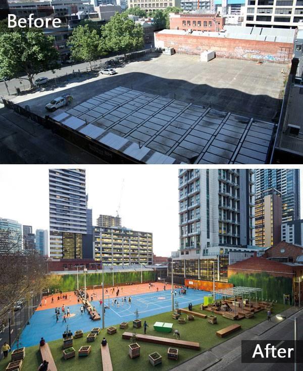 عکس بالا: وضعیت قبلی سایت و زمین رها شده، عکس پایین: سایت پس از طراحی