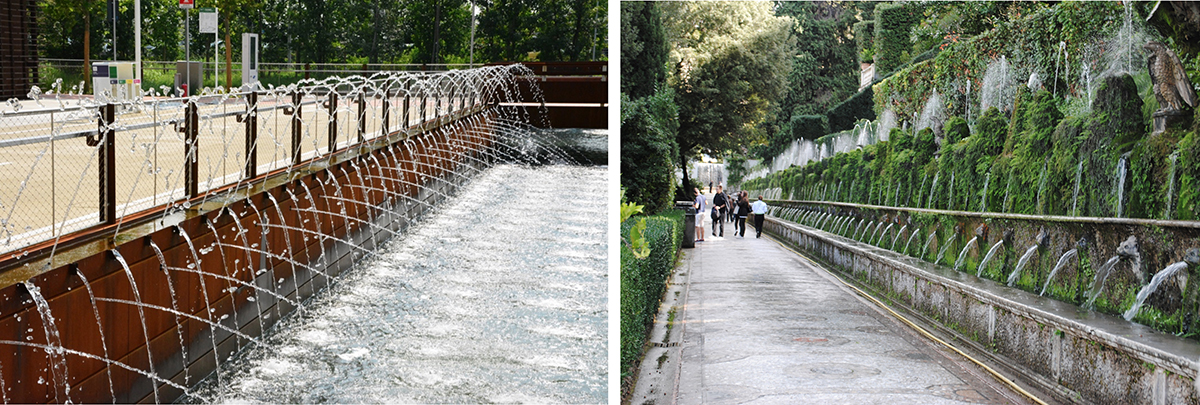 هزار چشمه در باغ ویلا دسته(سمت راست) و طراحی آبنمای ورودی اکسپو(سمت چپ) که تداعی کننده این اثر تاریخی و منظرین ایتالیاست.