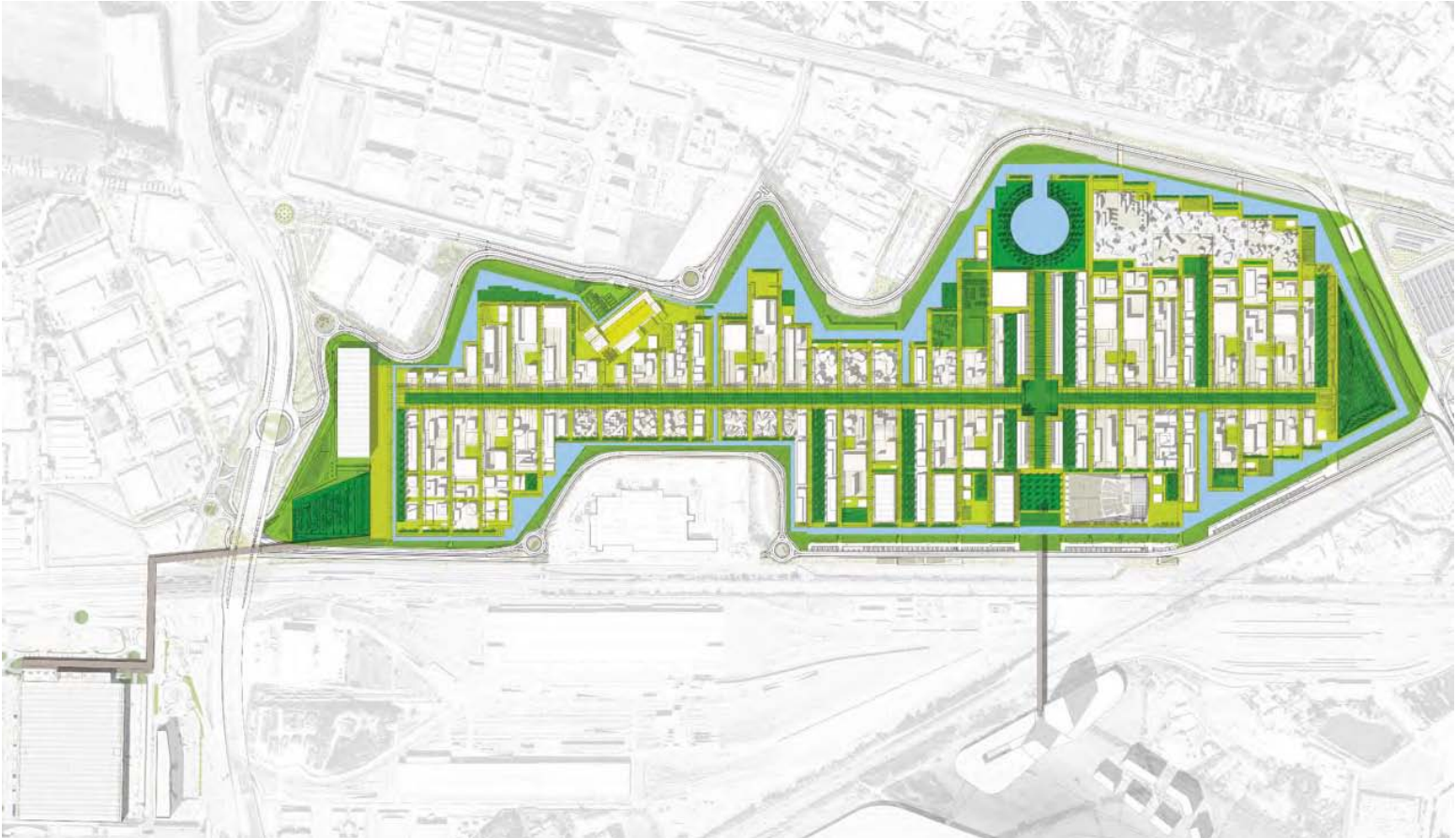 ساختار اکسپو میلان الهام گرفته از ساختار شهرهای رم باستان با دو محور عمود برهم است.