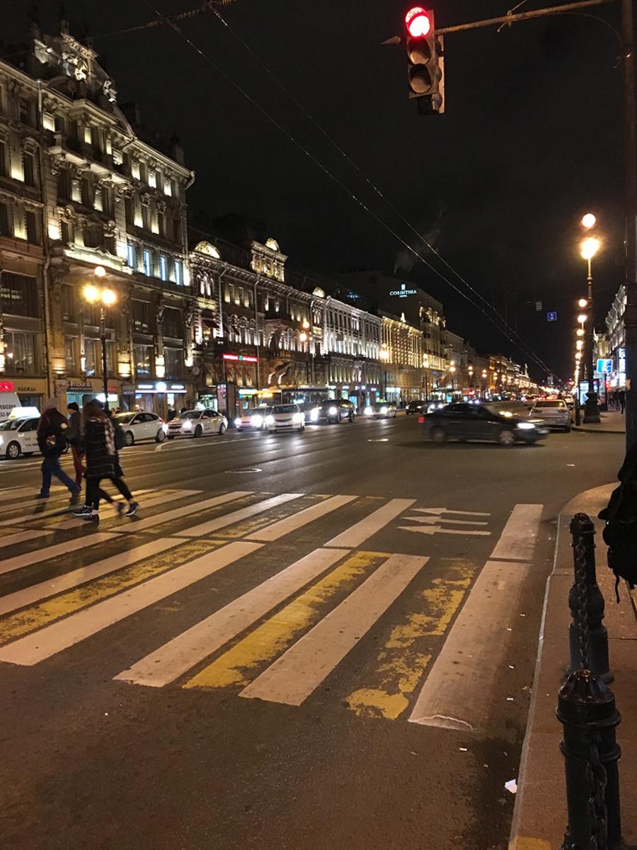 منظر شبانه خیابان نوسکی پراسپکت به عنوان محور فعال شهری